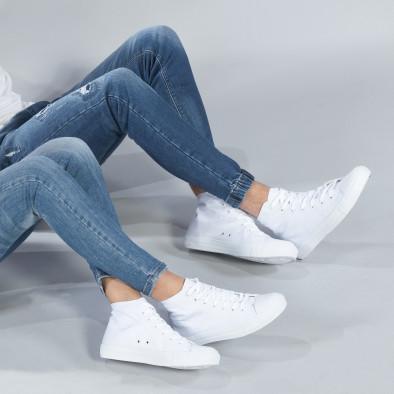 Ψηλά λευκά sneakers για ζευγάρια κλασικό μοντέλο cs-white-B341-B339 2