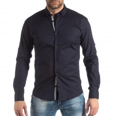Ανδρικό Slim fit σκούρο μπλε πουκάμισο με σταυροτό μοτίβο it210319-96 3