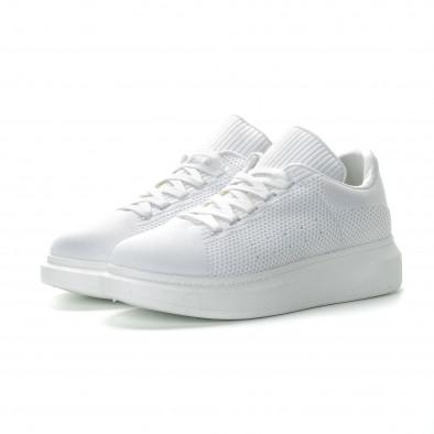 Ανδρικά λευκά υφασμάτινα sneakers με χοντρή σόλα it270219-2 3