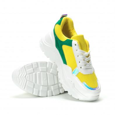 Γυναικεία πράσινα- κίτρινα sneakers με πλατφόρμα it250119-38 4