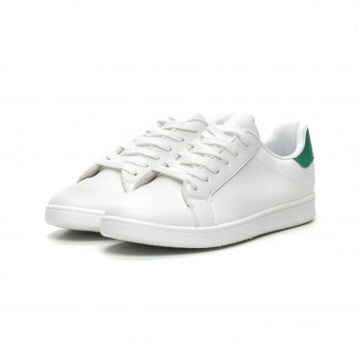 Ανδρικά λευκά αθλητικά παπούτσια με πράσινη λεπτομέρεια it040619-1 3