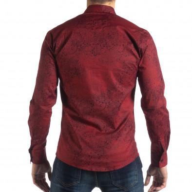 Ανδρικό μπορντό Slim fit πουκάμισο Vintage στυλ it210319-98 4