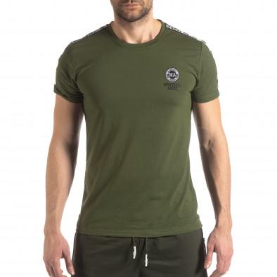 Ανδρική πράσινη κοντομάνικη μπλούζα με λογότυπο it210319-82 2