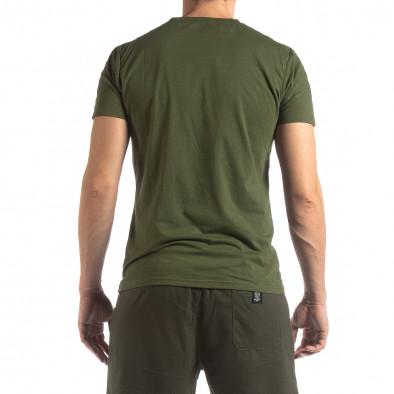 Ανδρική πράσινη κοντομάνικη μπλούζα με λογότυπο it210319-82 4