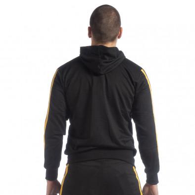 Ανδρική μαύρη Biker ζακέτα με κίτρινες ρίγες it040219-106 4