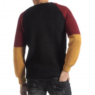 Ανδρικό πουλόβερ σε μαύρο, μουσταρδί και μπορντό  it051218-54 3
