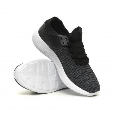 Ανδρικά μαύρα μελάνζ αθλητικά παπούτσια ελαφρύ μοντέλο it040619-4 4