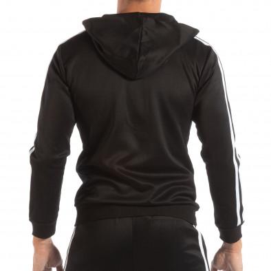 Ανδρικό μαύρο φούτερ με κουκούλα και λευκό ριγέ it240818-105 3
