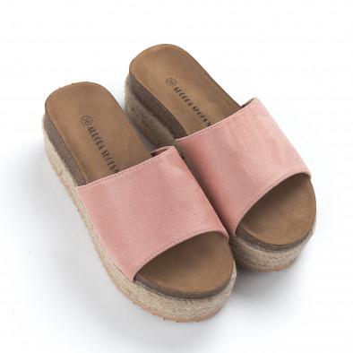 Γυναικείες ροζ ανατομικές παντόφλες και πλατφόρμα it050619-84 3