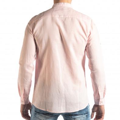 Ανδρικό ροζ πουκάμισο από λινό και βαμβάκι it210319-104 3