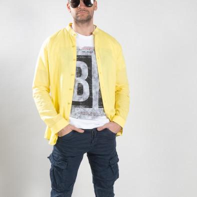 Ανδρικό κίτρινο πουκάμισο από λινό και βαμβάκι it210319-103 2