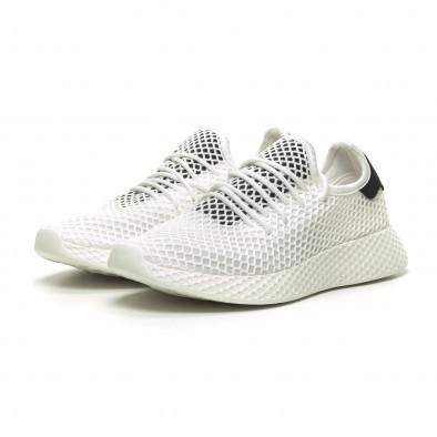 Ανδρικά λευκά αθλητικά παπούτσια Mesh με μαύρες λεπτομέρεις it230519-9 3