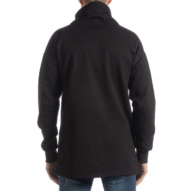 Ανδρική μαύρη μπλούζα με γιακά Oversized it051218-42 3