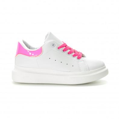 Γυναικεία λευκά sneakers με ροζ λεπτομέρειες it270219-9 3