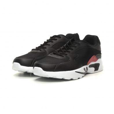 Ανδρικά ελαφριά αθλητικά παπούτσια με χοντρή σόλα σε μαύρο it040619-11 3