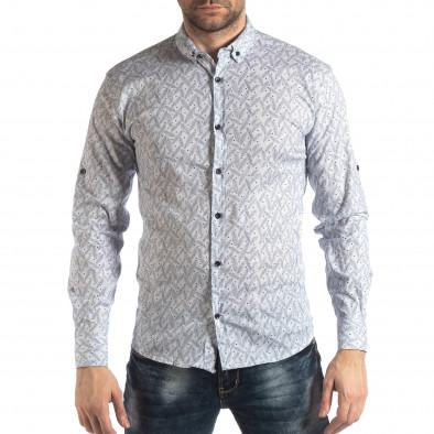 Ανδρικό λευκό Slim fit πουκάμισο με μοτίβο φύλλα it210319-99 2