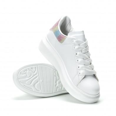 Γυναικεία λευκά sneakers με πολύχρωμη λεπτομέρεια it250119-91 4