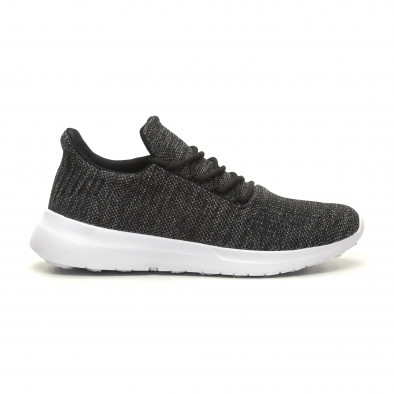 Ανδρικά μαύρα μελάνζ αθλητικά παπούτσια ελαφρύ μοντέλο με διακόσμηση it040619-7 2
