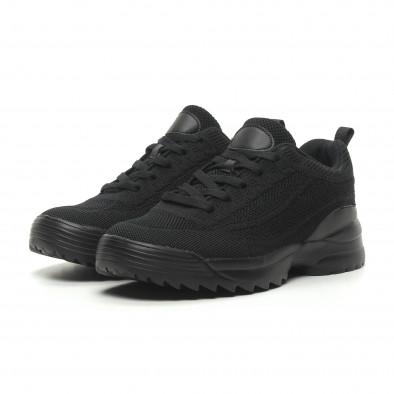 Ανδρικά μαύρα αθλητικά παπούτσια All Black με Chunky σόλα it230519-12 3