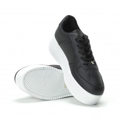Basic γυναικεία μαύρα sneakers με πλατφόρμα it250119-95 4
