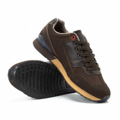 Ανδρικά καφέ αθλητικά παπούτσια από συνδυασμό υφασμάτων it140918-6 4