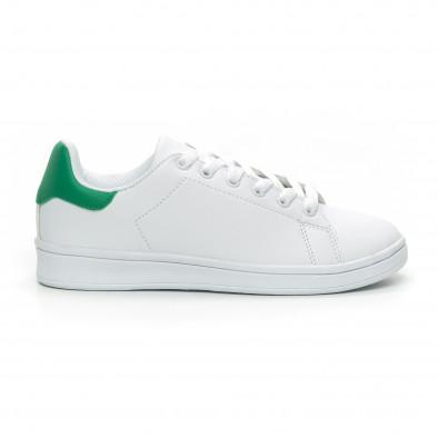 Γυναικεία Basic λευκά αθλητικά παπούτσια με πράσινη λεπτομέρειεα it150319-56 2
