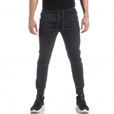 Ανδρικό Jogger Biker σε σκούρο γκρι χρώμα it040219-47 2