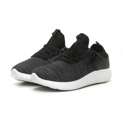 Ανδρικά μαύρα μελάνζ αθλητικά παπούτσια ελαφρύ μοντέλο it040619-4 3