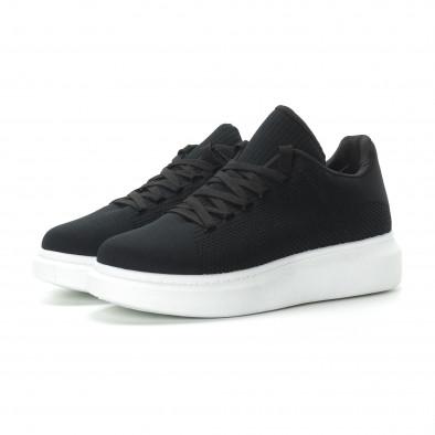 Ανδρικά μαύρα υφασμάτινα sneakers με χοντρή σόλα it270219-3 3