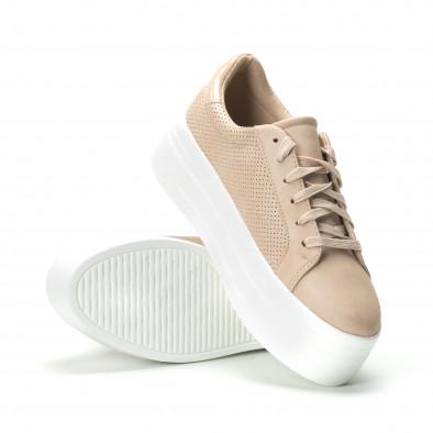 Γυναικεία μπεζ sneakers με πλατφόρμα it250119-40 4