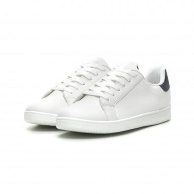 Ανδρικά λευκά αθλητικά παπούτσια με μπλέ λεπτομέρεια it040619-2 3