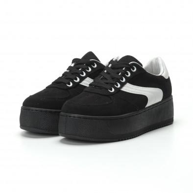 Γυναικεία μαύρα σουέτ sneakers με πλατφόρμα it250119-46 4