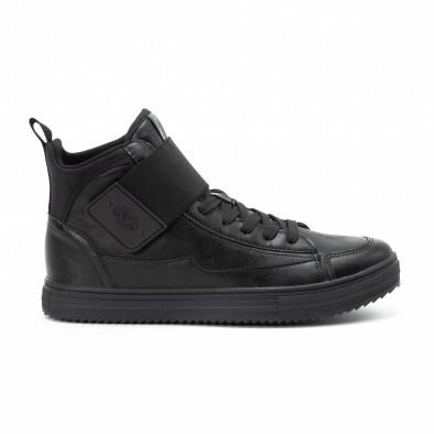 Ανδρικά μαύρα sneakers με αυτοκόλλητο it140918-8 2