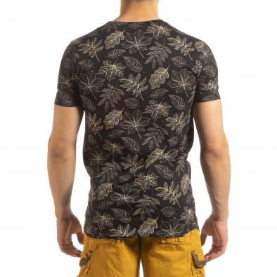 Ανδρική μαύρη κοντομάνικη μπλούζα Leaves σχέδιο it090519-57 3