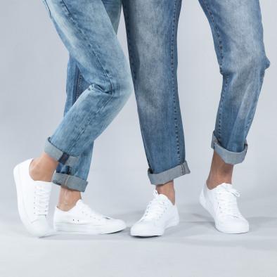 Κλασικά λευκά sneakers για ζευγάρια cs-white-A01-55-B01-55 2