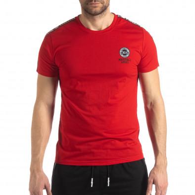 Ανδρική κόκκινη κοντομάνικη μπλούζα με λογότυπο it210319-83 3