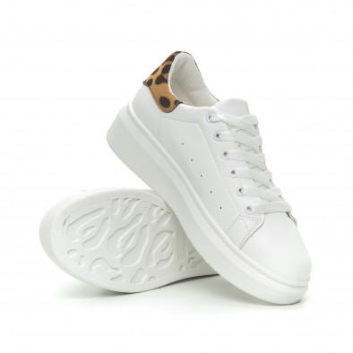 Γυναικεία λευκά sneakers με λεοπάρ λεπτομέρεια it150319-44 4
