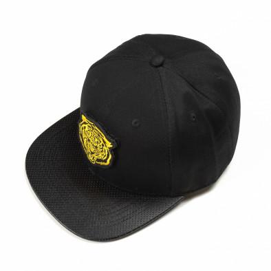 Μαύρο καπέλο με κίτρινη στάμπα it290818-6 2