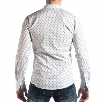 Ανδρικό λευκό Slim fit πουκάμισο με σταυροτό μοτίβο it210319-94 3