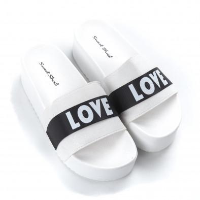 Γυναικείες λευκές παντόφλες Love it050619-56 3