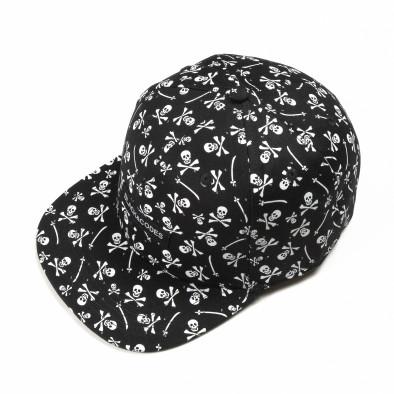 Μαύρο καπέλο με νεκροκεφαλές it290818-10 2