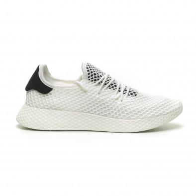 Ανδρικά λευκά αθλητικά παπούτσια Mesh με μαύρες λεπτομέρεις it230519-9 2