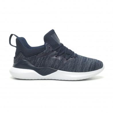 Ανδρικά μπλε μελάνζ αθλητικά παπούτσια πλεκτό μοντέλο it230519-4 2
