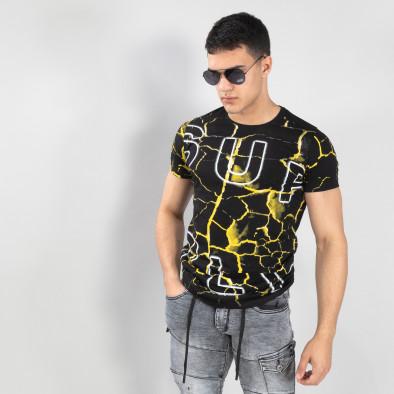 Ανδρική μαύρη- κίτρινη κοντομάνικη μπλούζα Supple it150419-111 2