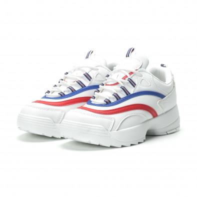 Γυναικεία λευκά sneakers με χρωματιστές λωρίδες it250119-88 4