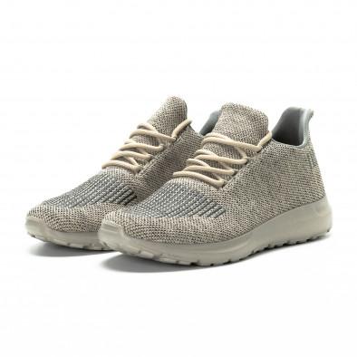 Ανδρικά μπεζ αθλητικά παπούτσια μελάνζ με διακοσμήσεις it081018-1 3