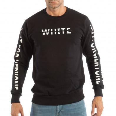 Ανδρική μαύρη μπλούζα WHITE it240818-128 2