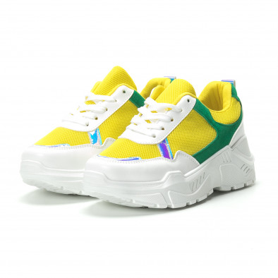 Γυναικεία πράσινα- κίτρινα sneakers με πλατφόρμα it250119-38 3