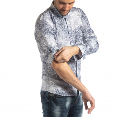 Ανδρικό λευκό Slimf fit πουκάμισο Vintage στυλ it210319-97 3