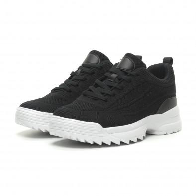 Ανδρικά μαύρα αθλητικά παπούτσια με Chunky σόλα it230519-13 3